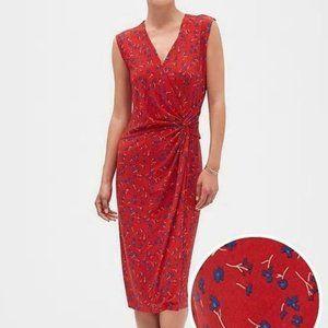 Banana Republic Red Floral Faux Wrap Dress Large
